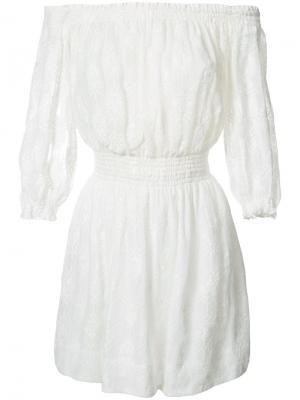 Платье с открытыми плечами Rebecca Taylor. Цвет: белый