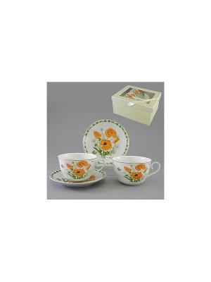 Набор чайный 4 пр. МАКИ НА ПОЛЯНЕ 250 мл BRISWILD. Цвет: белый