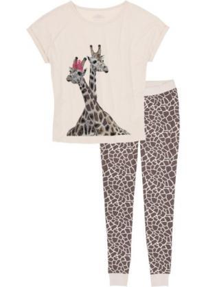 Пижама (бежевый/коричневый с рисунком) bonprix. Цвет: бежевый/коричневый с рисунком