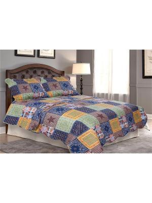 Покрывало Звезда 2 спальное с наволочкой Amore Mio. Цвет: синий, желтый, зеленый