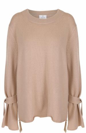 Пуловер из смеси шерсти и кашемира с бантами Allude. Цвет: бежевый