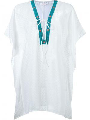 Пляжное платье с вышивкой Brigitte. Цвет: белый