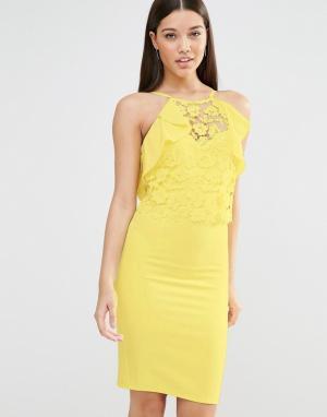 Lipsy Облегающее платье с кружевом и оборками. Цвет: желтый