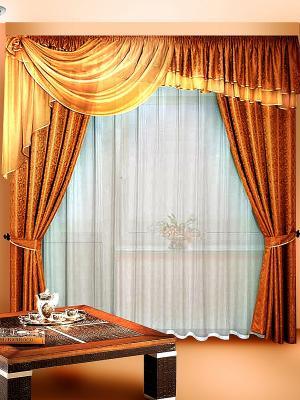 Комплект штор ZLATA KORUNKA. Цвет: коричневый, кремовый
