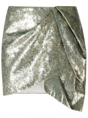 Юбка с драпировкой Giuliana Romanno. Цвет: металлический