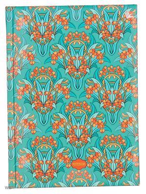 Книга для записей с поролоном 80 листов.Орнамент Модерн (букеты) Канц-Эксмо. Цвет: бирюзовый, красный, оранжевый