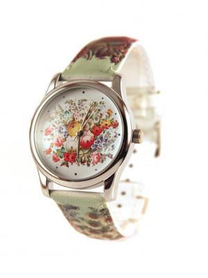 Дизайнерские часы Светлый Узор Tina Bolotina. Цвет: салатовый, светло-желтый, красный