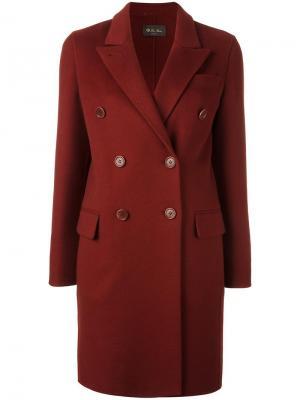 Двубортное пальто Loro Piana. Цвет: красный