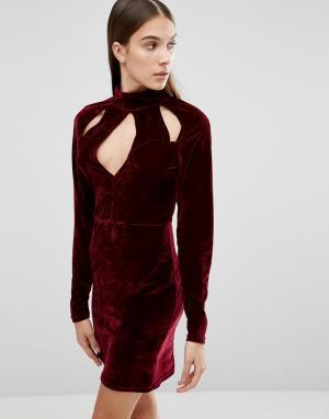 Parisian Бархатное платье с вырезами на горловине. Цвет: красный