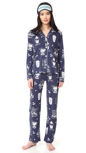 Пижама с игривыми принтами PJ Salvage. Цвет: темно-синий