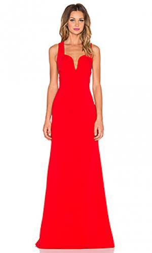 Вечернее платье с перекрестными шлейками на спине JILL STUART. Цвет: красный