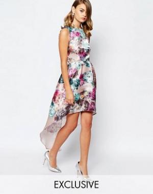 True Violet Асимметричное блестящее платье для выпускного. Цвет: мульти