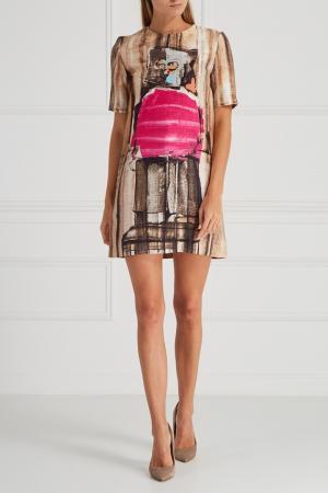 Платье с принтом Marni. Цвет: бежевый