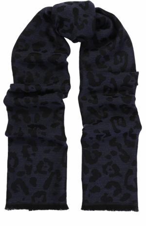 Шерстяной шарф с необработанным краем Lanvin. Цвет: темно-синий