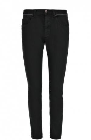 Зауженные джинсы с контрастным кантом на поясе Frankie Morello. Цвет: черный
