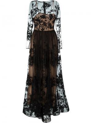 Платье с вышивкой Zuhair Murad. Цвет: чёрный
