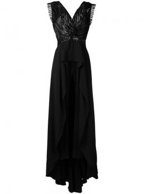 Платье с V-образным вырезом и отделкой пайетками Zuhair Murad. Цвет: чёрный