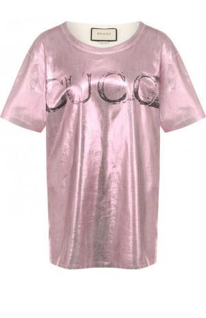 Хлопковая футболка с металлизированной отделкой и логотипом бренда Gucci. Цвет: розовый