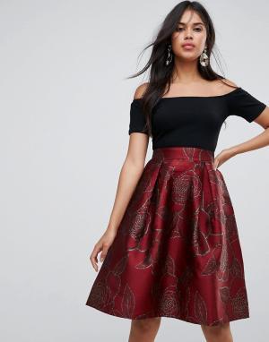 AX Paris Платье миди с жаккардовой юбкой. Цвет: фиолетовый