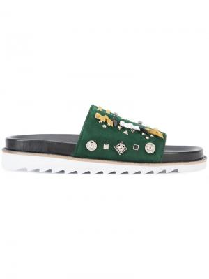 Сандалии со шнуровкой Toga. Цвет: зелёный