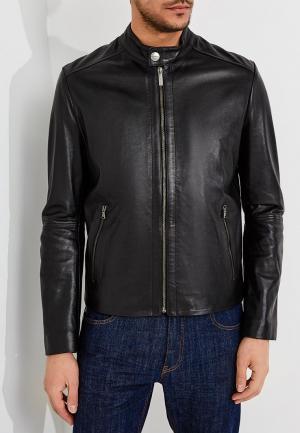 Куртка кожаная Bikkembergs. Цвет: черный