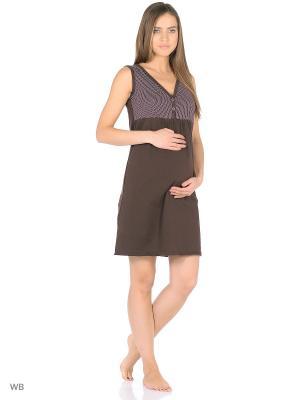 Ночная сорочка для беременных и кормления 40 недель. Цвет: коричневый
