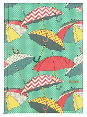 Книга для записей с поролоном 80 листов.Орнамент Разноцветные зонтики Канц-Эксмо. Цвет: зеленый, желтый, красный