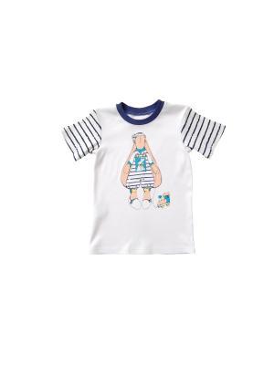 Джемпер для детей ясельного возраста Белый+наб.синий Милослава. Цвет: синий, белый