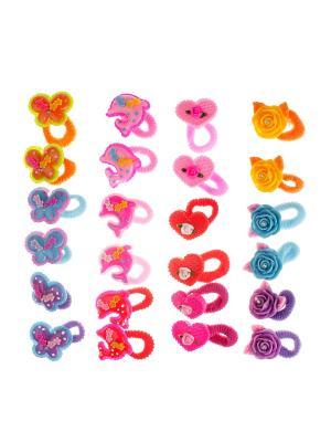 Резинка для волос детская (24 шт.) Happy Charms Family. Цвет: голубой, фиолетовый, красный, оранжевый, розовый, желтый