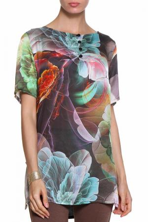 Блуза ROSANNA PELLEGRINI. Цвет: черно-зеленый