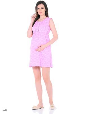 Сорочка женская для беременных и кормящих Hunny Mammy. Цвет: розовый, белый