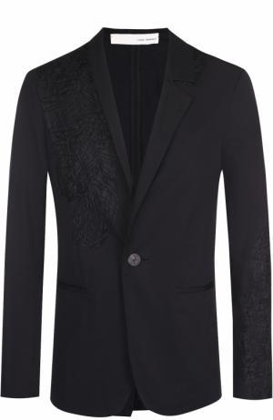 Хлопковый однобортный пиджак с декоративной отделкой Isabel Benenato. Цвет: черный