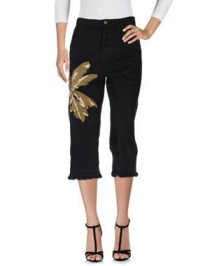 Джинсовые брюки-капри LANEUS. Цвет: черный
