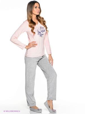 Пижама Vienetta Secret. Цвет: бледно-розовый, серый меланж