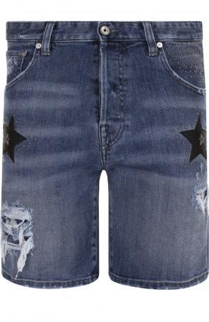 Джинсовые шорты с потертостями Just Cavalli. Цвет: синий