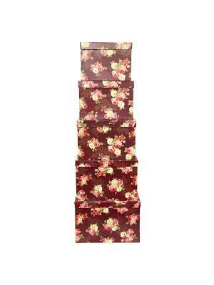 Коробка картонная,  набор из 5 шт. 22х22х16 - 30х30х20 см. Цветочный принт. VELD-CO. Цвет: темно-бордовый, темно-бежевый