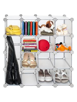 Стеллаж для обуви, 16 пластиковых ячеек SMART CUBE Tatkraft. Цвет: серый