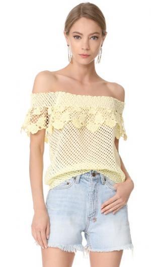 Кружевная блуза с открытыми плечами Temptation Positano. Цвет: giallo/желтый