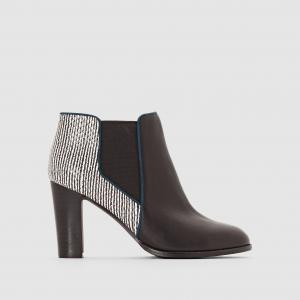 Ботильоны кожаные на каблуке Alizia MELLOW YELLOW. Цвет: черный