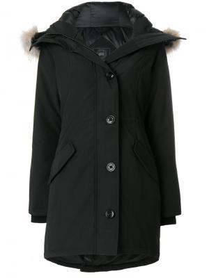 Пуховик с капюшоном оторочкой мехом койота Canada Goose. Цвет: чёрный