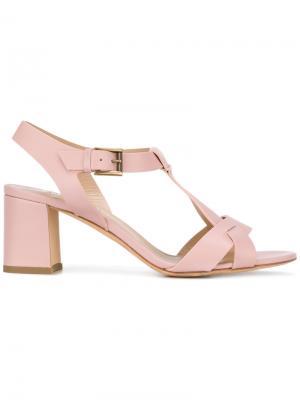 Босоножки на каблуке средней высоты Fratelli Rossetti. Цвет: розовый и фиолетовый