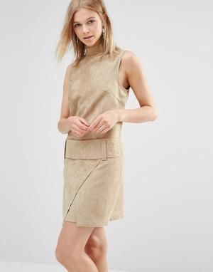 Shades of Grey Платье мини из искусственной замши с заниженной талией. Цвет: рыжий