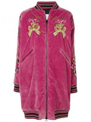 Бархатная накидка с вышивкой As65. Цвет: розовый и фиолетовый