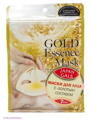 Маска с золотым составом Essence Mask, 7 шт Japan Gals. Цвет: горчичный, белый