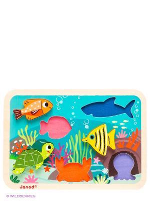 Пазл объемный Подводный мир, 7 элементов Janod. Цвет: голубой