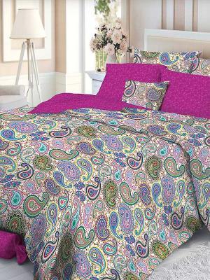 Комплект постельного белья Verossa. Цвет: белый, коричневый, голубой, фуксия