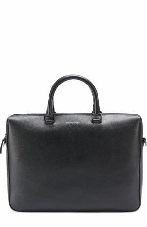 Кожаная сумка для ноутбука с внешним карманом Ermenegildo Zegna. Цвет: черный