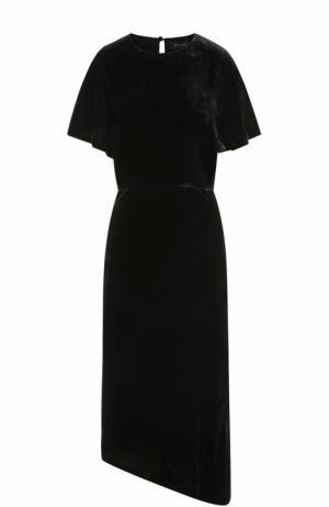 Приталенное бархатное платье асимметричного кроя St. John. Цвет: черный