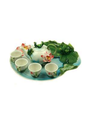 Подарочный набор для чайной церемонии Лягушка на 4 персоны Русские подарки. Цвет: белый, зеленый, красный
