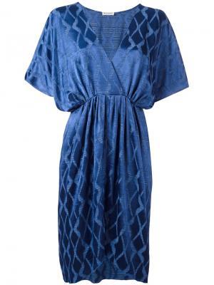 Жаккардовое платье с V-образным вырезом Masscob. Цвет: синий